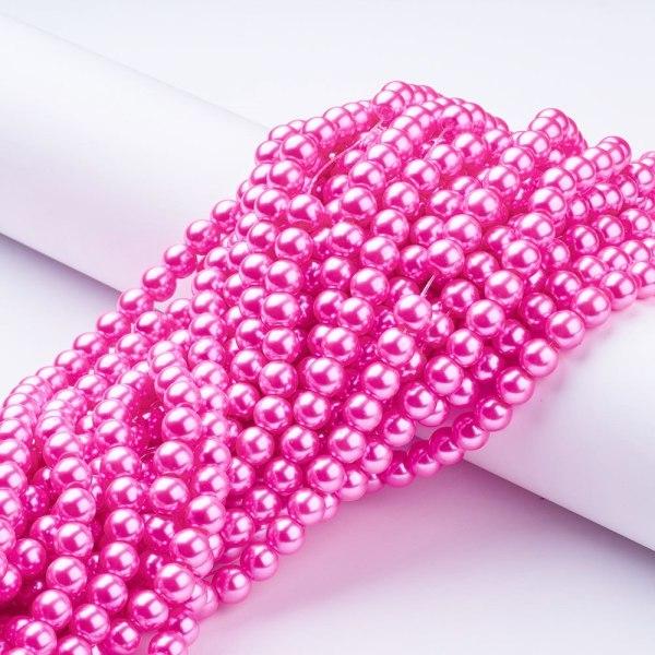 Vaxade glaspärlor rosa / hotpink 4 mm FEM strängar