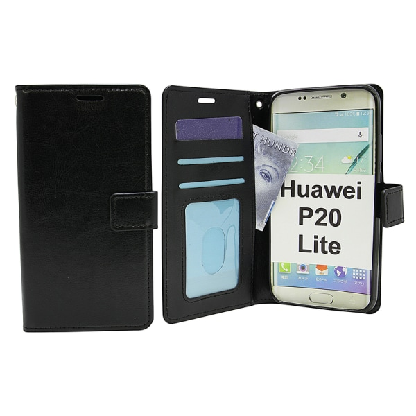 Crazy Horse Wallet Huawei P20 Lite Hotpink