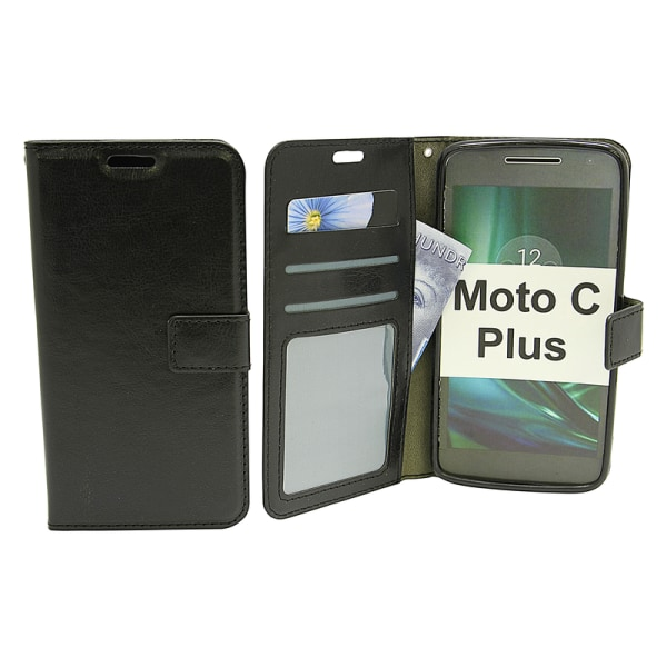 Crazy Horse Wallet Moto C Plus Svart