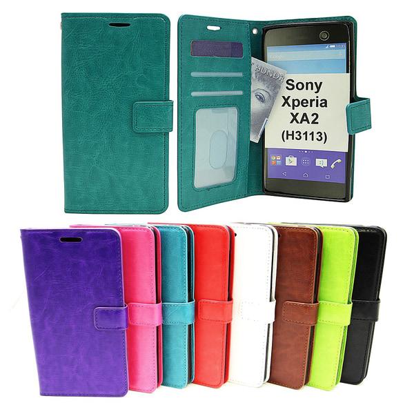 Crazy Horse Wallet Sony Xperia XA2 (H3113 / H4113) Grön