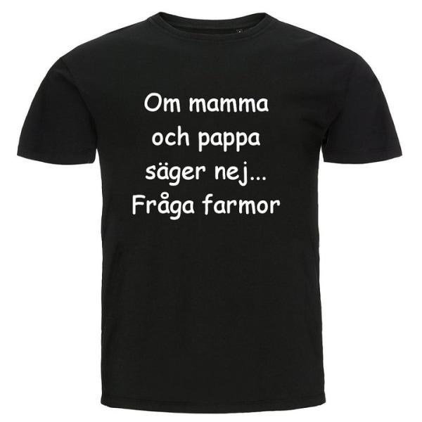 Barn T-shirt - Om mamma och pappa säger nej...Fråga Farmor Grön 152cl 12-13år