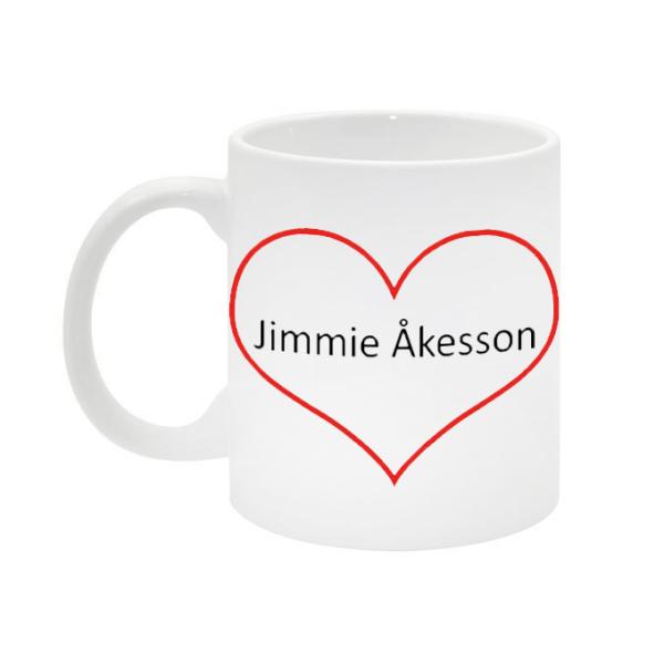 Jimmie Åkesson hjärta mugg