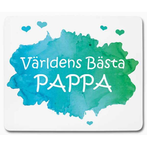 Världens bästa pappa grön blå med hjärtan 1 - musmatta