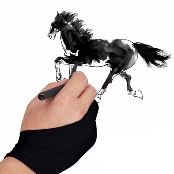 1 st Tvåfinger anti-fouling handske för konstnär ritning & penna grepp