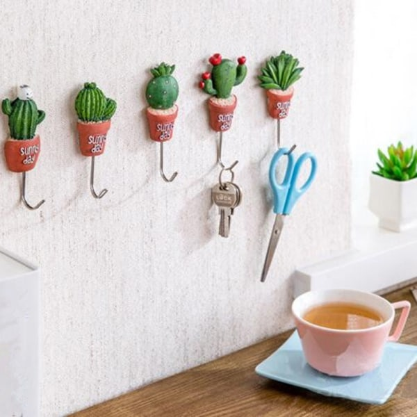 1PC Wall Hook Cactus Adhesive Artificial Flower Home Decor Stor