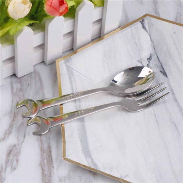 1 ST Skiftnyckel Form Rostfritt stål Gaffelsked Present Fruktsallad Fo