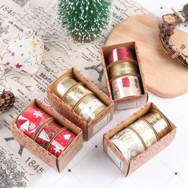 3Rolls Christmas Snowflake Wired Ribbon Webbing Presentförpackning Wr