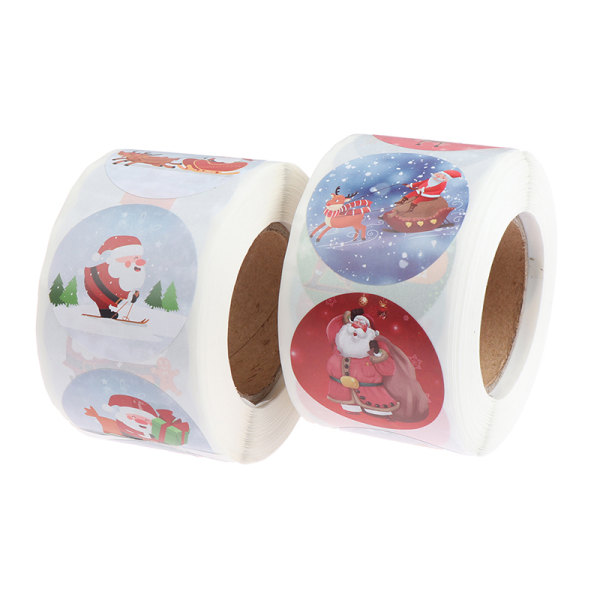 500st / rulle julklistermärke 8 mönster mönster tecknad klistermärke