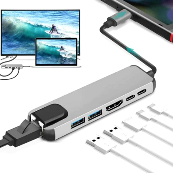 6 in 1 USB Hub Type C to Multi USB 3.0 HDMI 1000Mbps RJ45 Adapte onesize