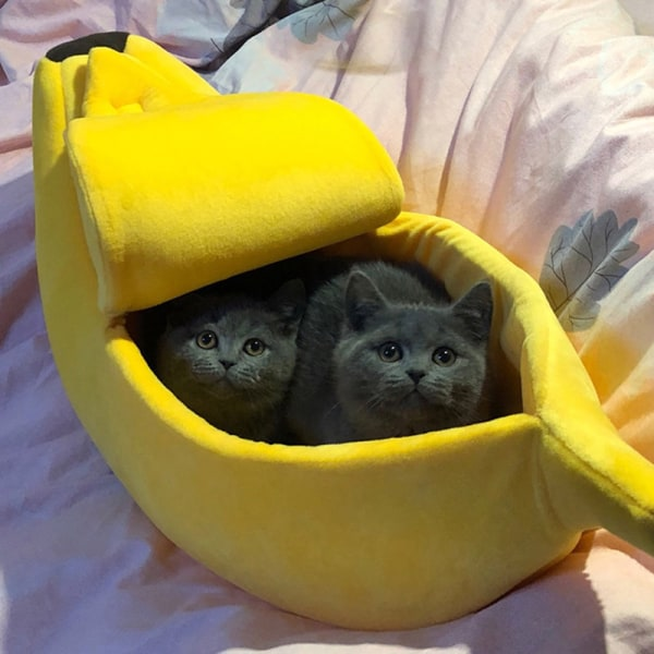 Banana Shape Pets Cat Bed House Cozy Banana Puppy Cushion Kennel M