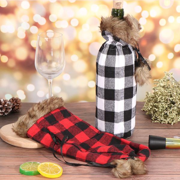 Julvinflaska Söt Cover Presentpåse Middag Hemfest Xma