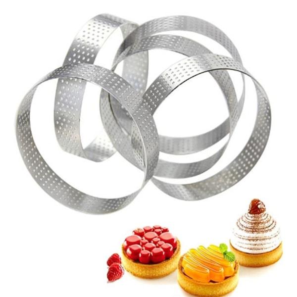 cirkulär tårta efterrätt rostfritt stål perforering paj quich 3
