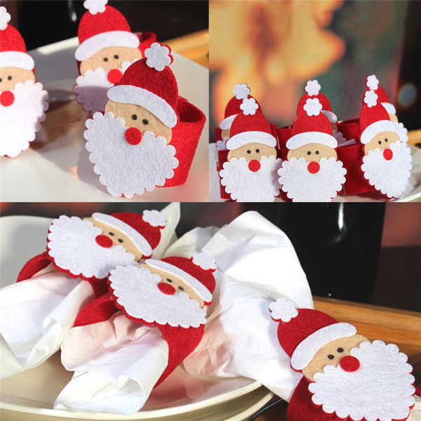 Hot Sale Christmas Santa Claus Napkin Ring Serviette Tissue Hol Red One Size