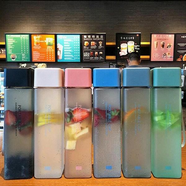 kvadratisk plast frostat kopp utomhus kall juice sport med portab Blue Transparent