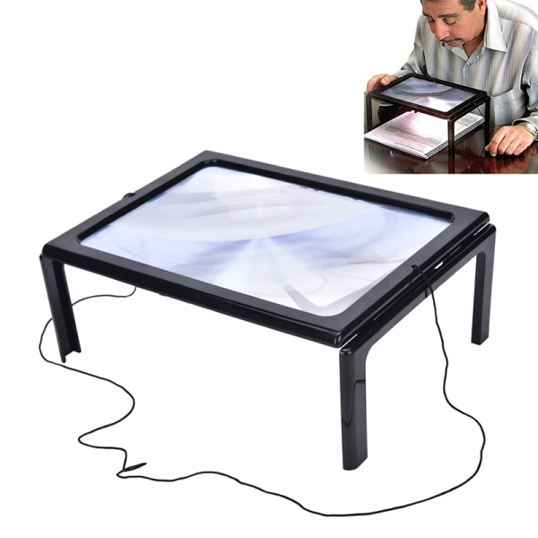 Large A4 Page Hands Free 3x Magnifying Glass With Light LED Mag