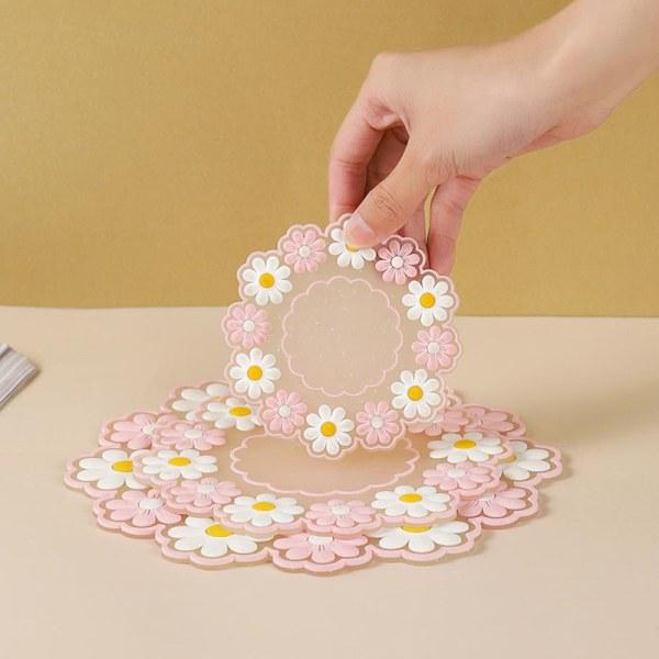 liten daisy isolering bordsmatta silikon matta halkskål matta Pink L