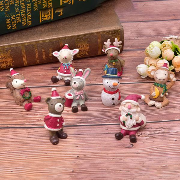 Santa Claus Snowman Figurine Christmas Model Resin Decorative D deer
