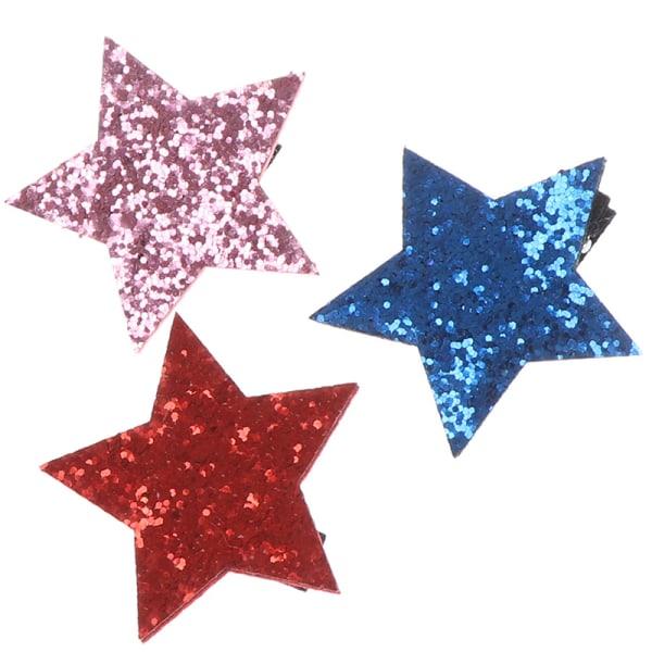 Star Shape Metal Barn Snap Glitter Hair Clips Barrettes Girl