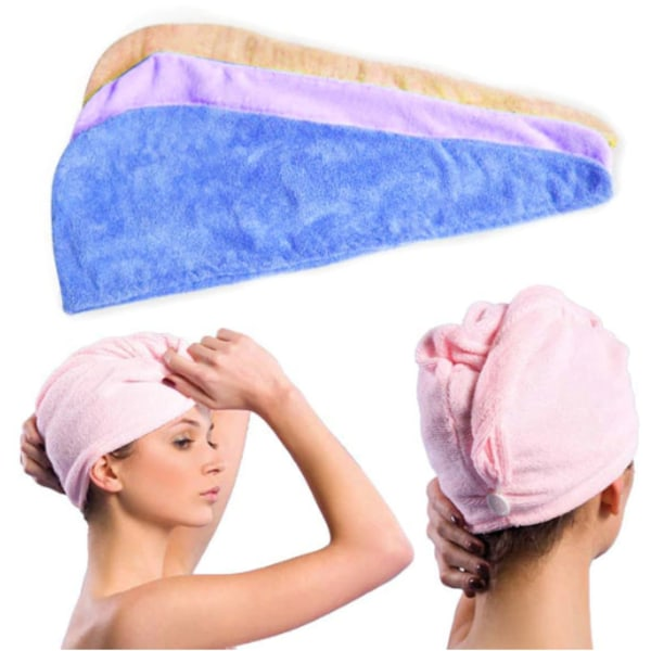 Turban / Mikrofiber handduk För håret (Rosa) Rosa one size