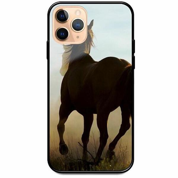 Apple iPhone 11 Pro Max Svart Mobilskal med Glas Häst / Horse