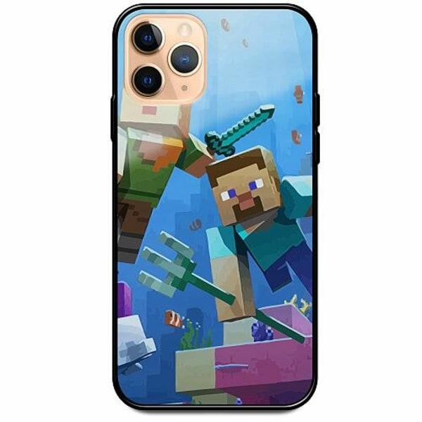 Apple iPhone 12 Pro Svart Mobilskal med Glas MineCraft