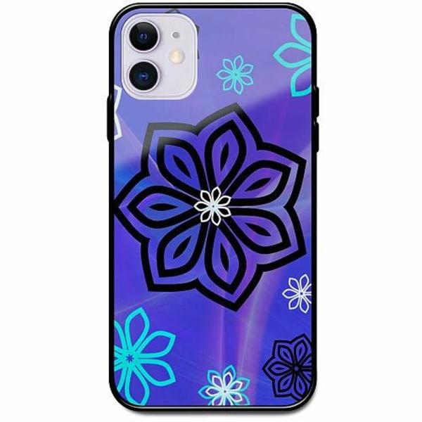 Apple iPhone 12 mini Svart Mobilskal med Glas Flower on LCD