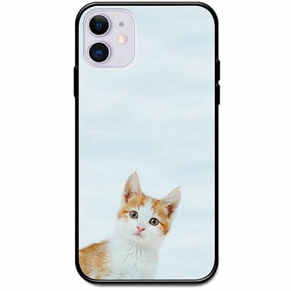 Apple iPhone 12 Svart Mobilskal med Glas PopUp Cat