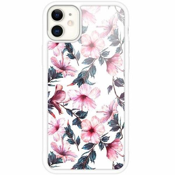 Apple iPhone 12 mini Vitt Mobilskal med Glas Blommor
