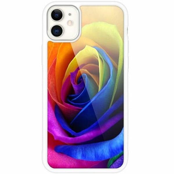 Apple iPhone 12 mini Vitt Mobilskal med Glas Rainbow Rose