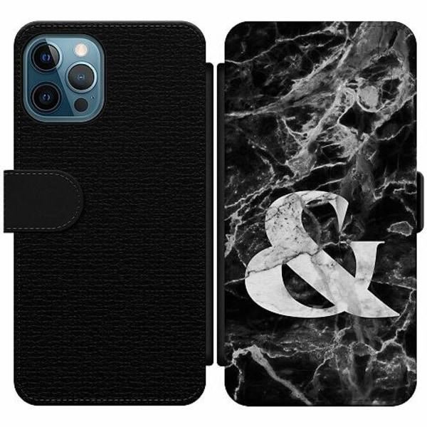 Apple iPhone 12 Pro Wallet Slim Case Marmor & Svart