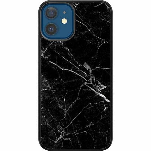 Apple iPhone 12 Soft Case (Svart) Marmor