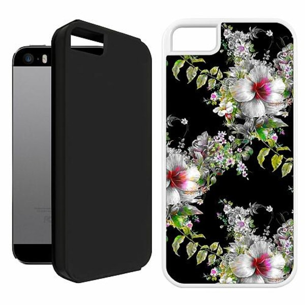 Apple iPhone 5 / 5s / SE Duo Case Vit Flower star
