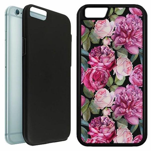 Apple iPhone 6 / 6S Duo Case Svart Blommor