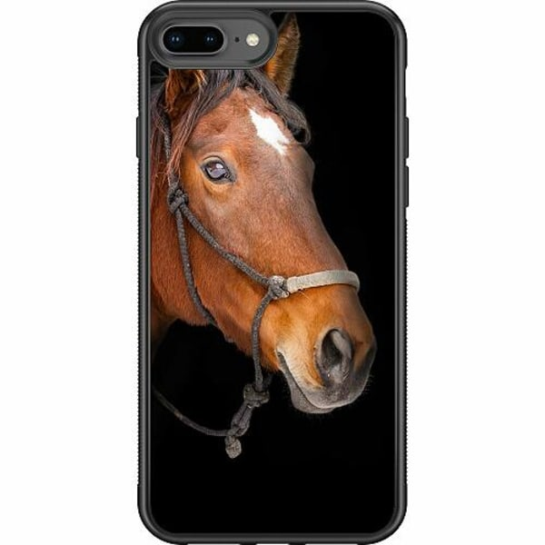 Apple iPhone 7 Plus Soft Case (Svart) Häst / Horse
