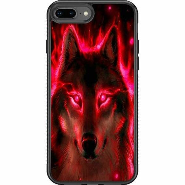 Apple iPhone 8 Plus Soft Case (Svart) Statement Wolf 1055