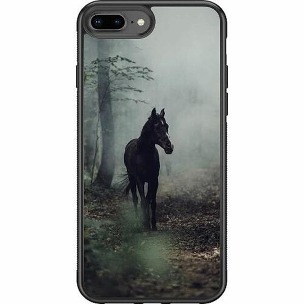 Apple iPhone 8 Plus Soft Case (Svart) Häst / Horse