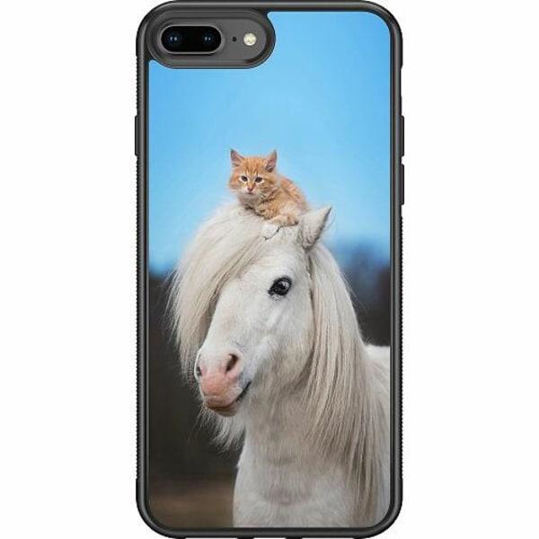 Apple iPhone 7 Plus Soft Case (Svart) Häst & Katt