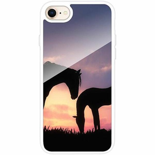 Apple iPhone 7 Vitt Mobilskal med Glas Häst / Horse