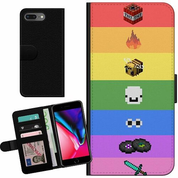 Apple iPhone 8 Plus Billigt Fodral MineCraft Rainbow