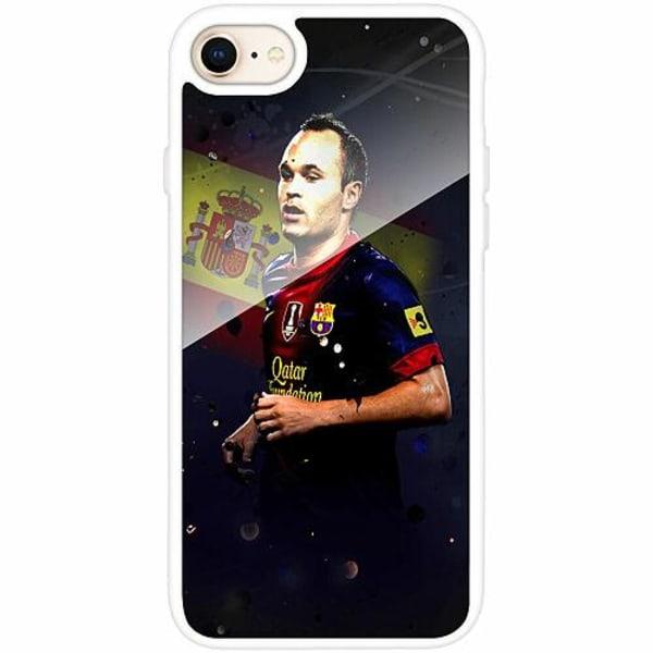 Apple iPhone 8 Vitt Mobilskal med Glas Andrés Iniesta