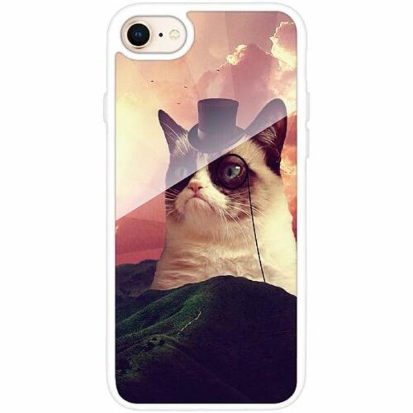 Apple iPhone 8 Vitt Mobilskal med Glas Cat Af Grund