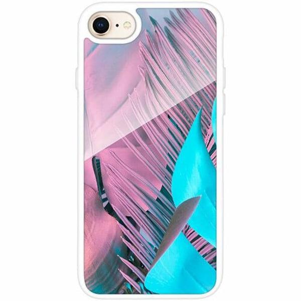 Apple iPhone 8 Vitt Mobilskal med Glas Coral Blue Hues