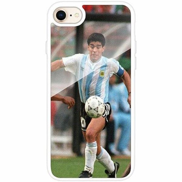 Apple iPhone 8 Vitt Mobilskal med Glas Diego Maradona
