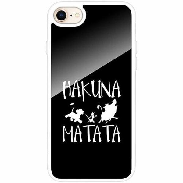 Apple iPhone 8 Vitt Mobilskal med Glas Hakuna Matata