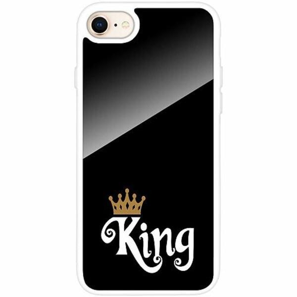 Apple iPhone 8 Vitt Mobilskal med Glas King 01