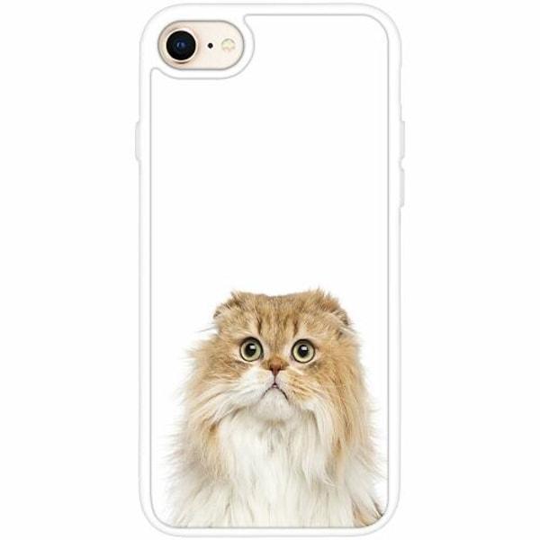 Apple iPhone 8 Vitt Mobilskal med Glas PopUp Scared Cat