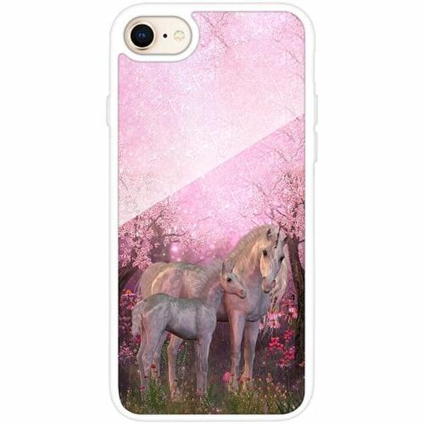 Apple iPhone 7 Vitt Mobilskal med Glas Unicorn