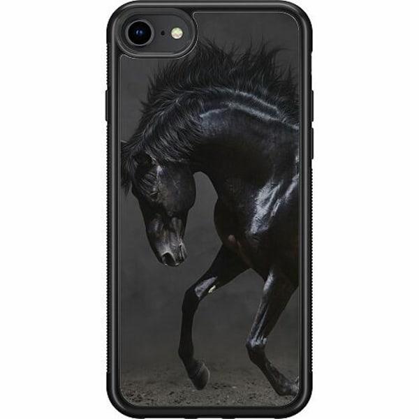 Apple iPhone SE (2020) Soft Case (Svart) Häst / Horse