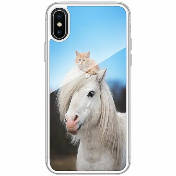 Apple iPhone X / XS Transparent Mobilskal med Glas Häst & Katt
