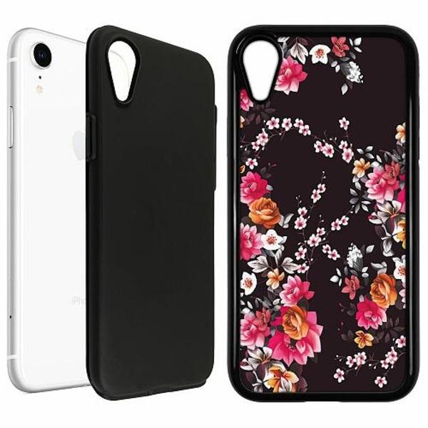 Apple iPhone XR Duo Case Svart Flower Splash